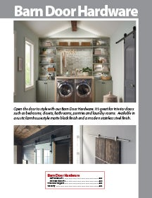 First page of the Barn Door Hardware section within the Decorative Hardware & Organization Catalog by Hardware Resources.