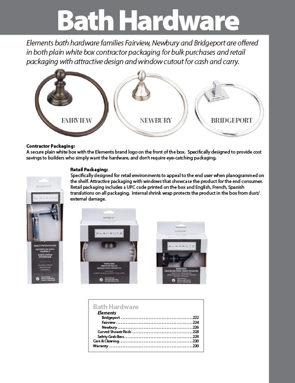 First page of the Bath Hardware section within the Decorative Hardware & Organization Catalog by Hardware Resources.