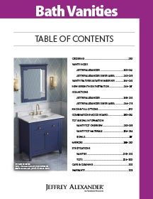 First page of the Vanities & Islands section within the Decorative Hardware & Organization Catalog by Hardware Resources.